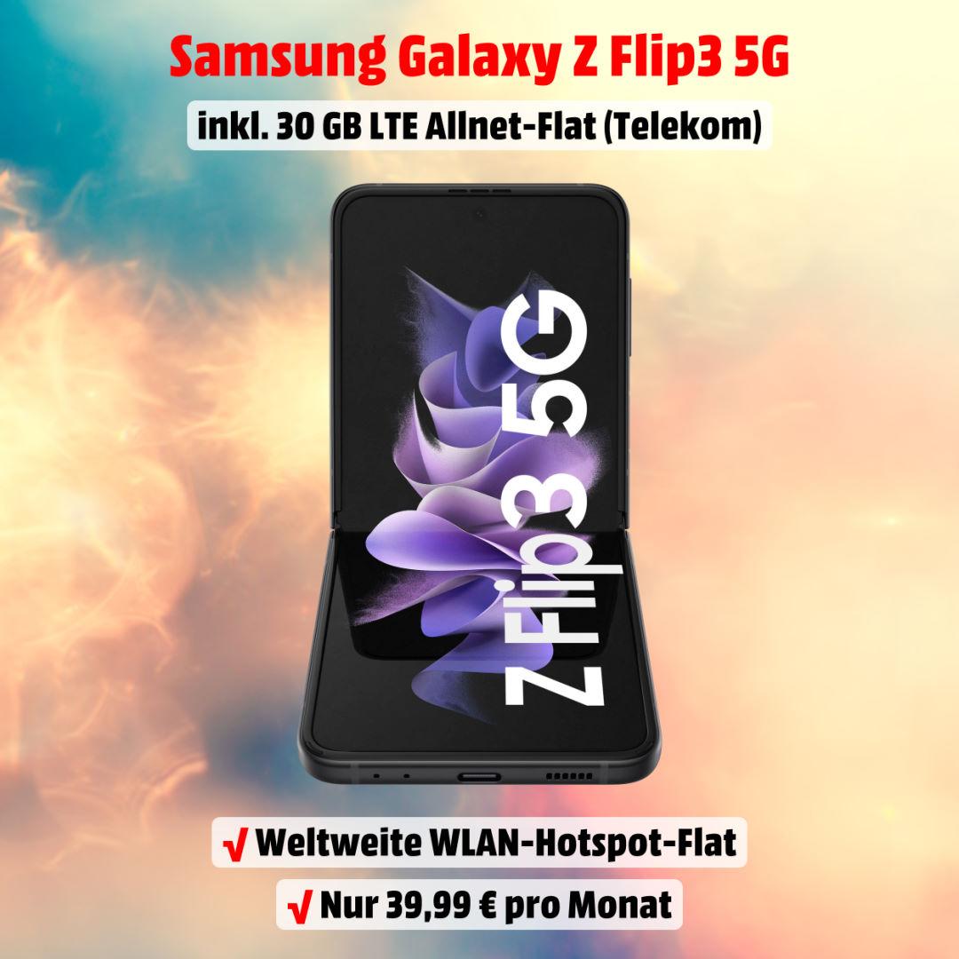 Galaxy Z Flip3 5G inkl. 30 GB LTE Allnet-Flat im besten D-Netz zum Bestpreis