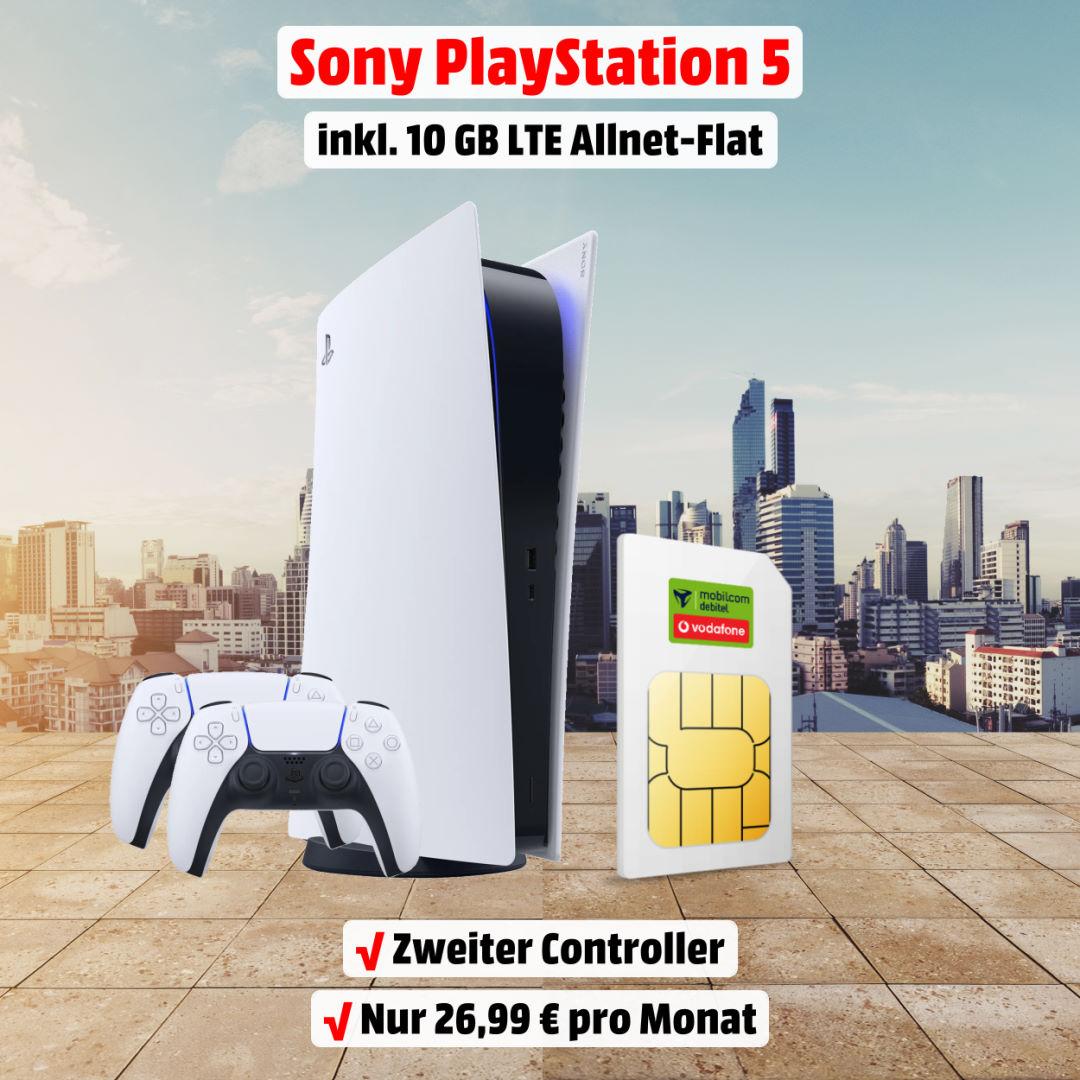 Playstation 5 Digital Edition inkl. zweitem Controller und 10 GB LTE Allnet-Flat zum absoluten Bestpreis