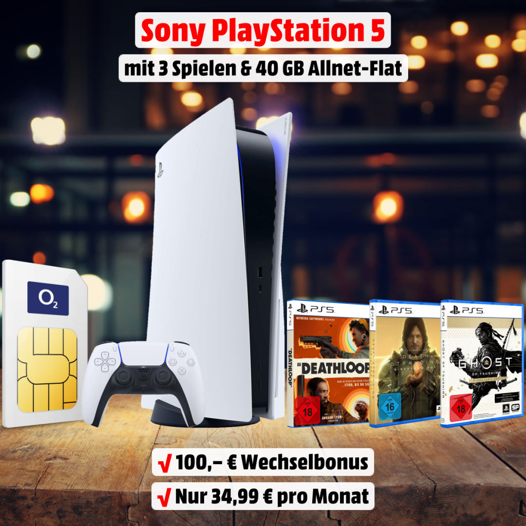 Playstation 5 Disc Edition inkl. 3 Spielen und 40 GB 5G-LTE Allnet-Flat zum Bestpreis